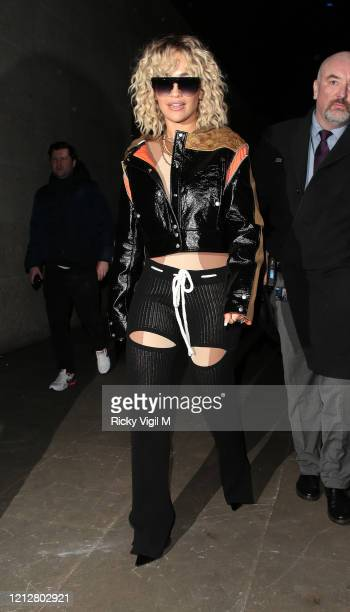 Rita Ora seen leaving BBC Radio One after cohosting with Nick Grimshaw on March 16 2020 in London England