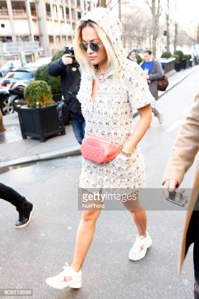Rita Ora seen leaving her hotel in Paris France on January 23 2018 She attends the Chanel Haute Couture Spring Summer 2018 show as part of Paris...