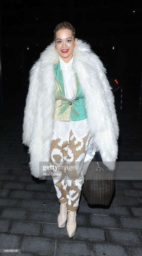 Rita Ora seen leaving the Dorchester Hotel on December 11, 2013 in London, England.