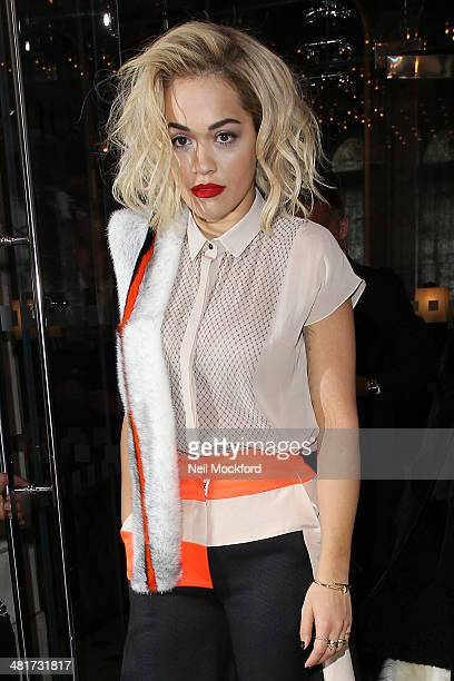 Rita Ora seen leaving The London EDITION Hotel on March 31 2014 in London England