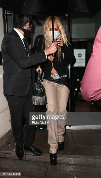 Rita Ora seen on a night out at Nobu Park Lane on September 04 2020 in London England