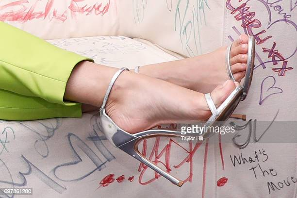 Rita Ora, shoe detail, visits the Music Choice studios on June 19, 2017 in New York City.