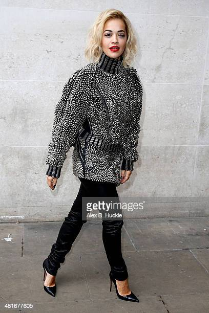 Rita Ora sighted arriving at the BBC Radio 1 studios on March 31 2014 in London England