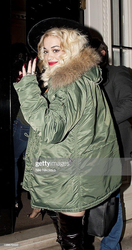 Rita Ora sighting on November 18, 2012 in London, England.