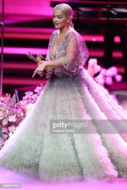 Rita Ora speaks on stage during the Bambi Awards 2015 show at Stage Theater on November 12 2015 in Berlin Germany
