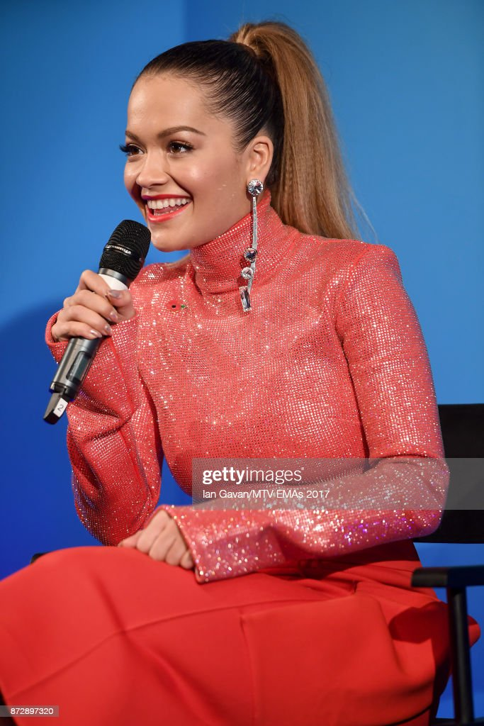 Rita Ora speaks on stage during the Velocity 'On Set with Viacom' Showcase held at Ambika P3 ahead of the MTV EMAs 2017 on November 11, 2017 in London, England. The MTV EMAs 2017 is held at The SSE Arena, Wembley on November 12, 2017.
