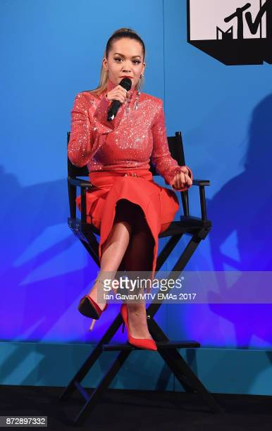 Rita Ora speaks on stage during the Velocity 'On Set with Viacom' Showcase held at Ambika P3 ahead of the MTV EMAs 2017 on November 11 2017 in London...