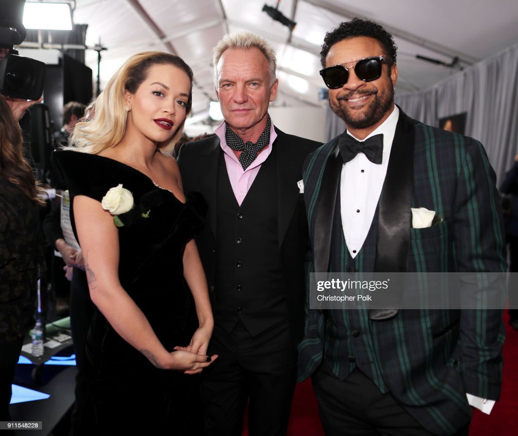 Rita Ora, Sting and Shaggy attend the 60th Annual GRAMMY Awards at Madison Square Garden on January 28, 2018 in New York City.