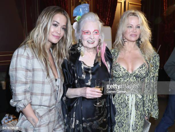 Rita Ora Vivienne Westwood and Pamela Anderson are seen backstage after the Andreas Kronthaler for Vivienne Westwood show as part of the Paris...