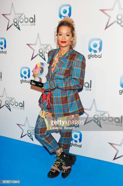 Rita Ora winner of the Best Pop award attends The Global Awards 2018 at Eventim Apollo Hammersmith on March 1 2018 in London England