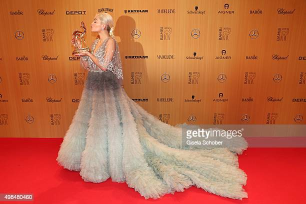 Rita Ora with award during at the Bambi Awards 2015 winners board at Stage Theater on November 12 2015 in Berlin Germany