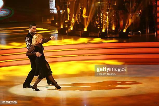 Rita Paovone and Simone Di Pasquale perform during the 'Ballando Con Le Stelle' Tv Show at Auditorium RAI on April 23 2016 in Rome Italy