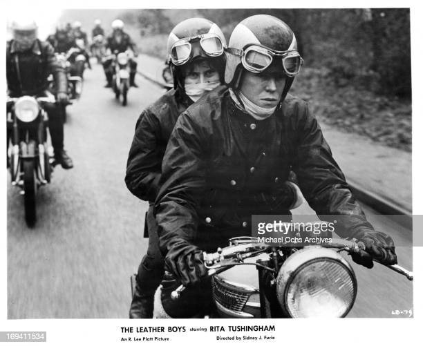 Rita Tushingham riding on the back of Colin Campbell's motorcycle in a scene from the film 'The Leather Boys' 1964