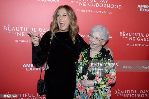 Rita Wilson and Joanne Rogers attend New York Special Screening Of A Beautiful Day In The Neighborhood at Henry R Luce Auditorium at Brookfield Place...