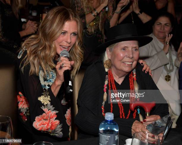 Rita Wilson and Joni Mitchell attend the Jazz Foundation honors Joni Mitchell And Wayne Shorter at Vibrato on November 10, 2019 in Los Angeles,...