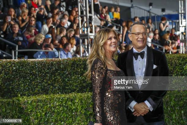 Rita Wilson and Tom Hanks arriving at the 77th Golden Globe Awards at the Beverly Hilton on January 05 2020