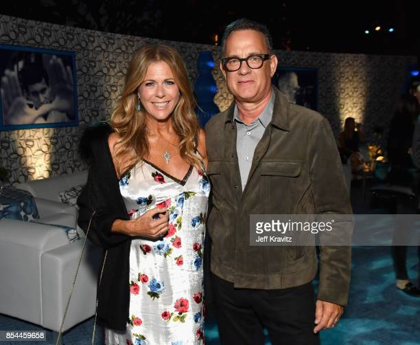 Rita Wilson and Tom Hanks at HBO's Spielberg Premiere at Paramount Studios on September 26 2017 in Hollywood California