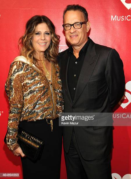 Rita Wilson and Tom Hanks attend 2014 MusiCares Person Of The Year Honoring Carole King at Los Angeles Convention Center on January 24, 2014 in Los...