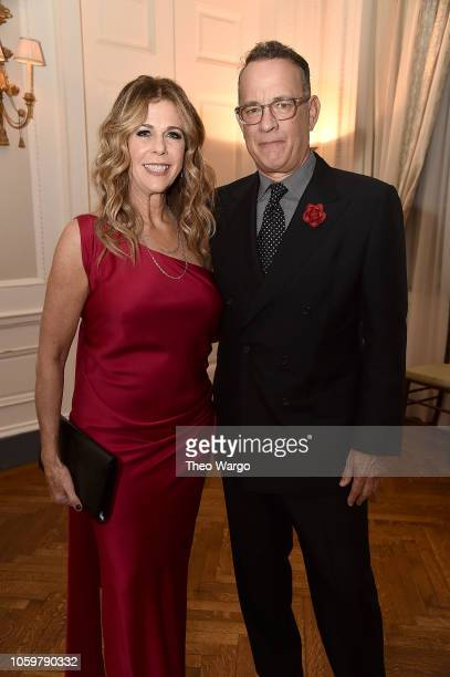 Rita Wilson and Tom Hanks attend the 2018 American Friends of Blerancourt Dinner at Colony Club on November 9 2018 in New York City