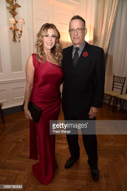 Rita Wilson and Tom Hanks attend the 2018 American Friends of Blerancourt Dinner on November 9 2018 in New York City