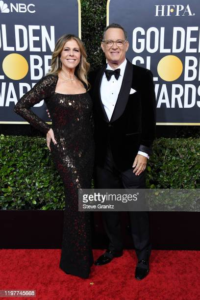 Rita Wilson and Tom Hanks attend the 77th Annual Golden Globe Awards at The Beverly Hilton Hotel on January 05 2020 in Beverly Hills California
