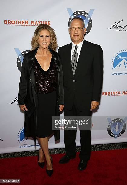 Rita Wilson and Tom Hanks attend the 'Brother Nature' New York Premiere at Regal EWalk 13 on September 7 2016 in New York City