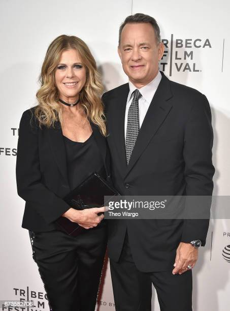 Rita Wilson and Tom Hanks attend 'The Circle' Premiere at the BMCC Tribeca PAC on April 26 2017 in New York City