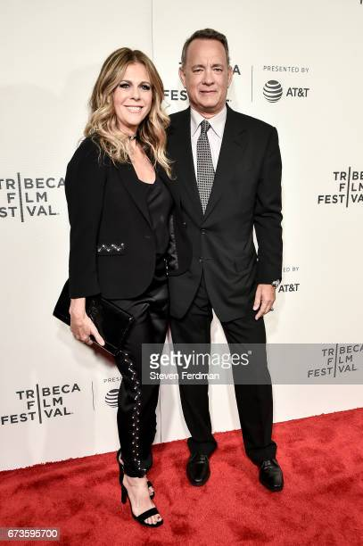 Rita Wilson and Tom Hanks attend 'The Circle' premiere during the 2017 Tribeca Film Festival at BMCC Tribeca PAC on April 26 2017 in New York City
