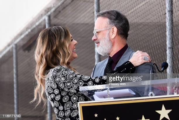 Rita Wilson and Tom Hanks attends Rita Wilson's Star Ceremony on the Hollywood Walk Of Fame on March 29 2019 in Hollywood California