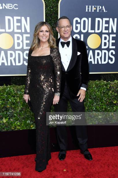 Rita Wilson and Tom Hanks attends the 77th Annual Golden Globe Awards at The Beverly Hilton Hotel on January 05, 2020 in Beverly Hills, California.
