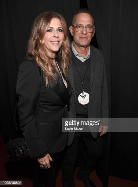 Rita Wilson and Tom Hanks backstage during I Am The Highway A Tribute To Chris Cornell at The Forum on January 16 2019 in Inglewood California