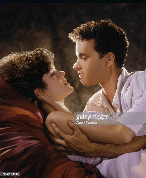 Rita Wilson and Tom Hanks during the filming of 'Volunteers'