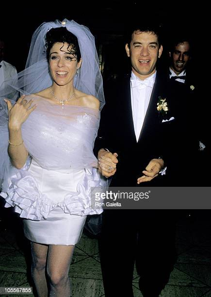 Rita Wilson and Tom Hanks during Tom Hanks and Rita Wilson Wedding Reception at Rex's California United States