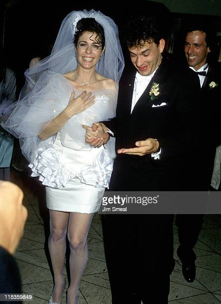 Rita Wilson and Tom Hanks during Tom Hanks and Rita Wilson Wedding Reception at Rex's in Los Angeles California United States