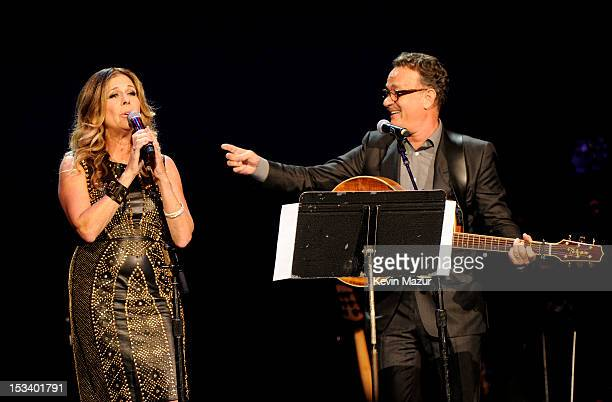 Rita Wilson and Tom Hanks perform on stage at the Children's Health Fund 25th Anniversary Concert at Radio City Music Hall on October 4 2012 in New...