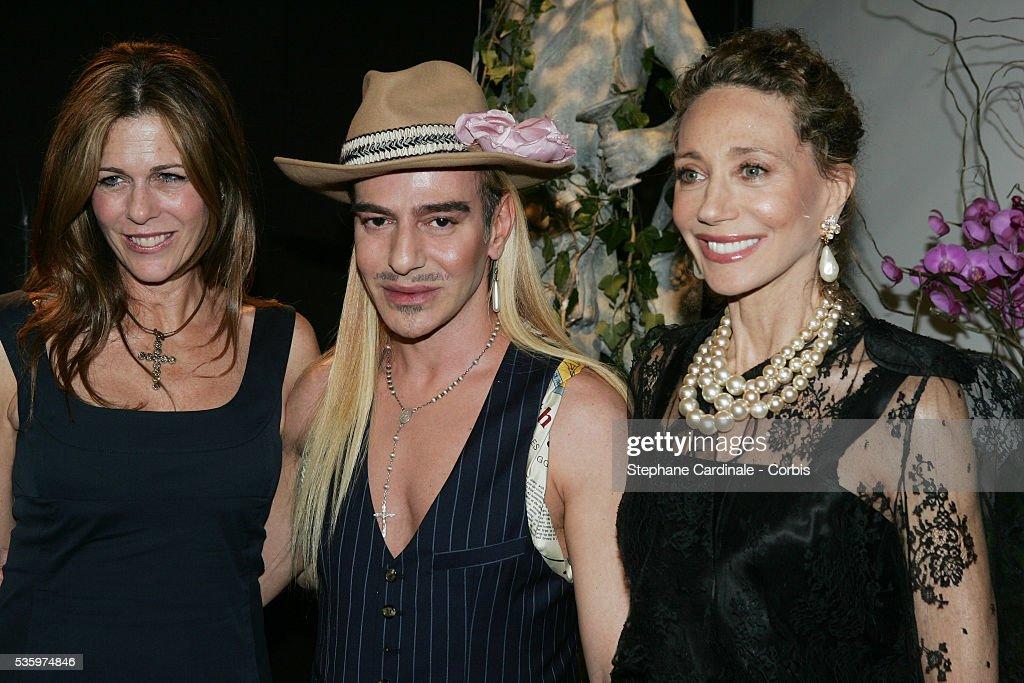 Rita Wilson, Dior designer John Galliano and Marisa Berenson attend the Christian Dior 2005-2006 'Haute Couture' Fall/Winter fashion collection.