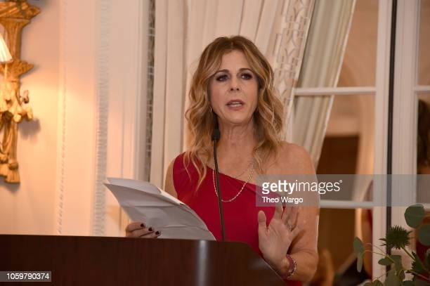 Rita Wilson speaks at the 2018 American Friends of Blerancourt Dinner on November 9 2018 in New York City