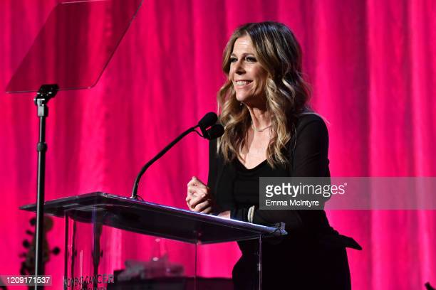 """Rita Wilson speaks onstage during WCRF's """"An Unforgettable Evening"""" at Beverly Wilshire, A Four Seasons Hotel on February 27, 2020 in Beverly Hills,..."""