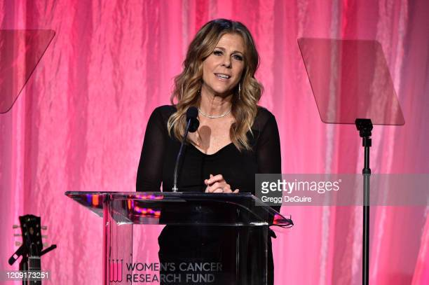 Rita Wilson speaks onstage during WCRF's An Unforgettable Evening at Beverly Wilshire A Four Seasons Hotel on February 27 2020 in Beverly Hills...