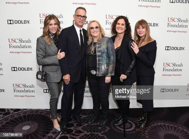 Rita Wilson, Tom Hanks, Melissa Etheridge, Linda Wallem, and Kate Capshaw attend the Ambassadors For Humanity Gala Benefiting USC Shoah Foundation...