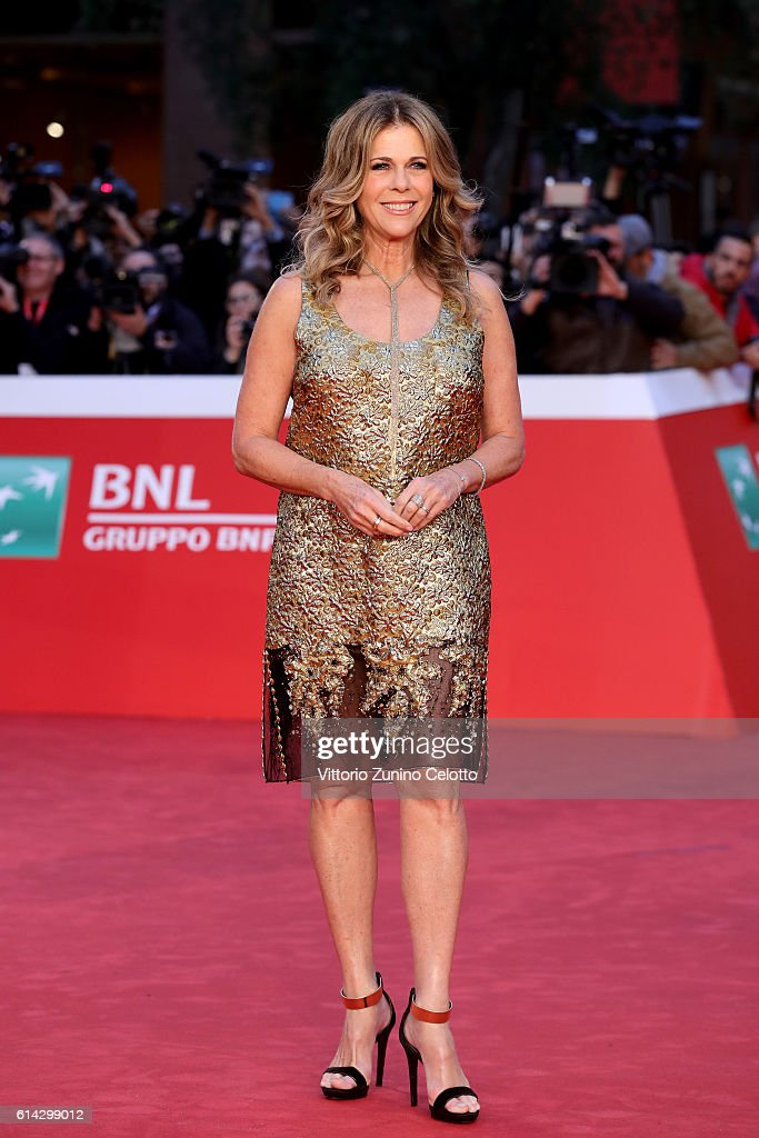 Rita Wilson walks a red carpet on October 13, 2016 in Rome, Italy.