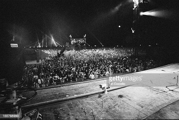 Ritchie Blackmore's guitar lying on the stage at the Ontario Motor Speedway Ontario California during a concert by English rock group Deep Purple at...