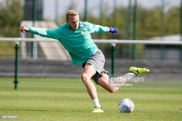 Ritchie De Laet of Aston Villa in action during a training session at the club's training ground at Bodymoor Heath on September 15 2017 in Birmingham...