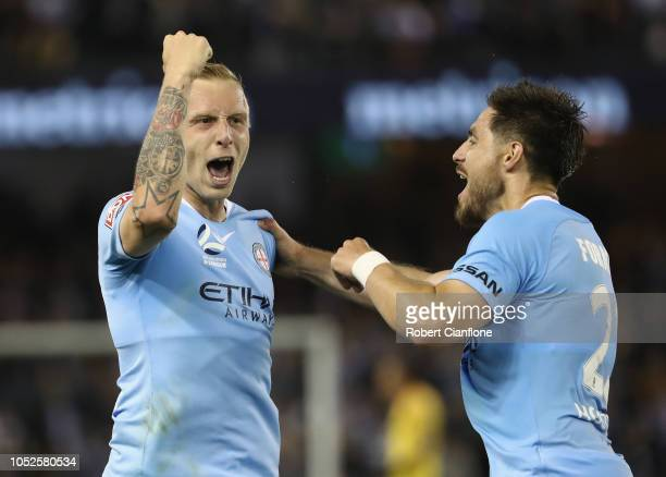 Ritchie De Laet of Melbourne City celebrates after scoring a goal during the round one ALeague match between Melbourne Victory and Melbourne City at...