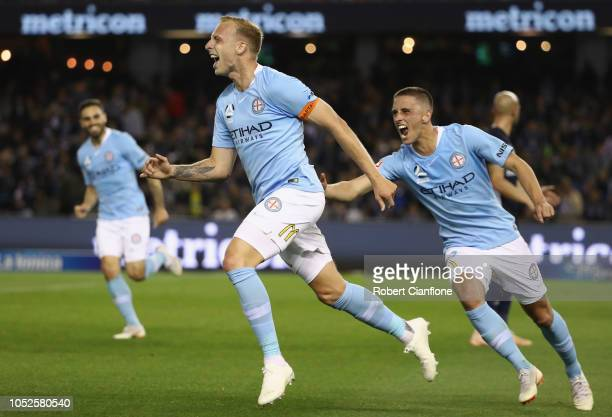 Ritchie De Laet of Melbourne City celebrates after scoring a goal during the round one A-League match between Melbourne Victory and Melbourne City at...