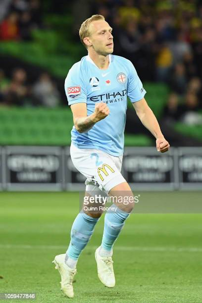 Ritchie De Laet of Melbourne City celebrates scoring a goal during the round four ALeague match between Melbourne City and the Wellington Phoenix at...