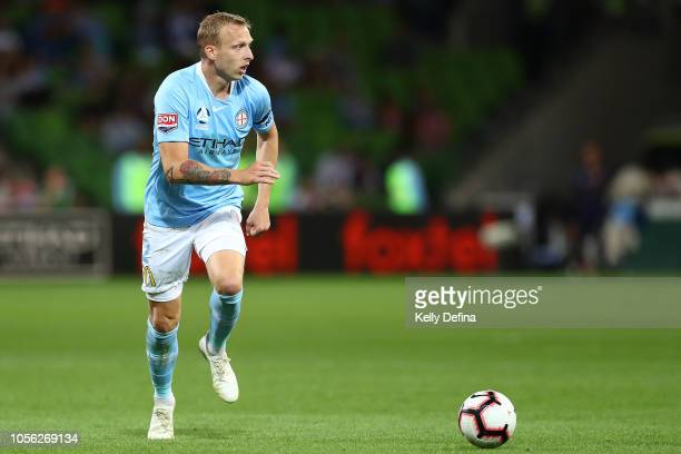 Ritchie De Laet of Melbourne City runs with the ball during the round three ALeague match between Melbourne Victory and Sydney FC at AAMI Park on...