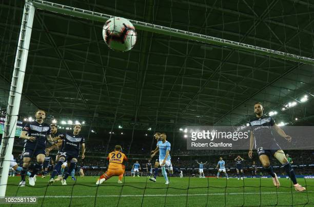Ritchie De Laet of Melbourne City shoots on goal to score during the round one ALeague match between Melbourne Victory and Melbourne City at Marvel...