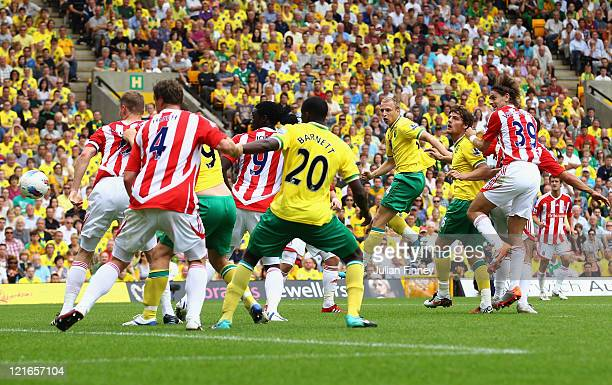 Ritchie De Laet of Norwich scores a header during the Barclay's premier league match between Norwich and Stoke City at Carrow Road on August 21 2011...
