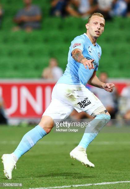 Ritchie De Laet of the City celebrates after he scores a goal during the round 13 ALeague match between Melbourne City and the Brisbane Roar at AAMI...